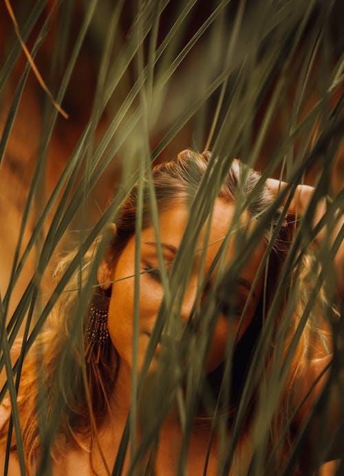 Woman in Brown Hair in Wheat Field