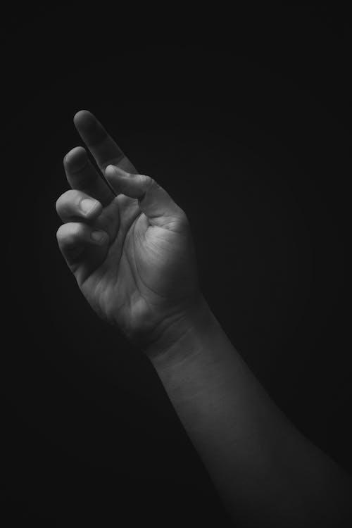 Monochrome Photo of a Person's Arm