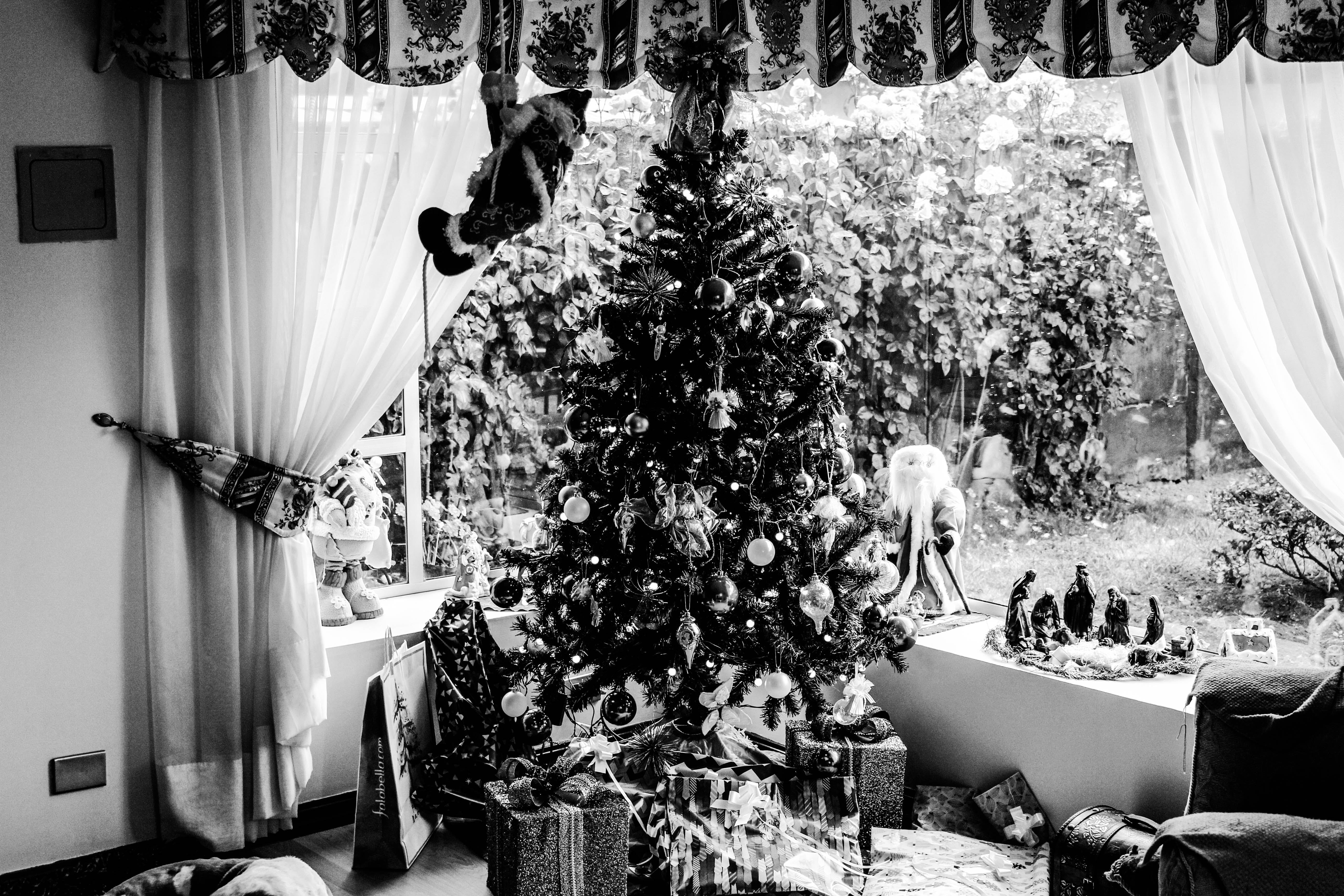 Grayscale Photo of Christmas