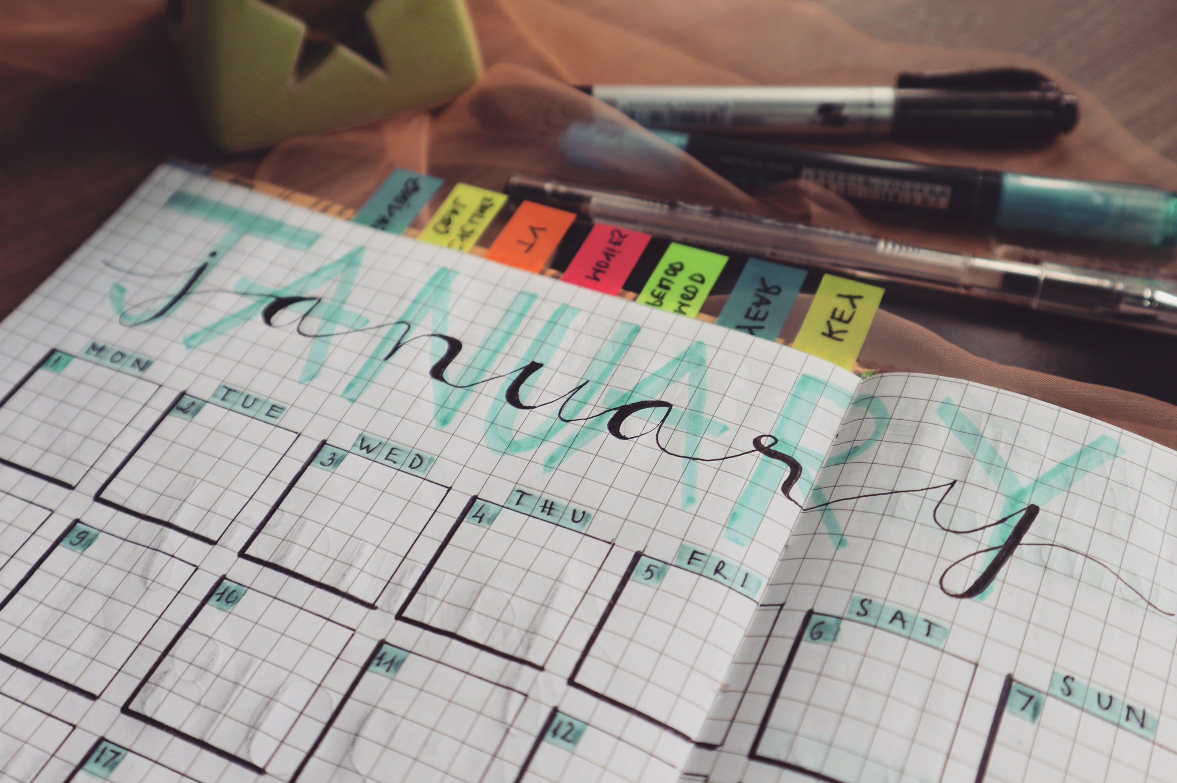 Fotos de stock gratuitas de bolígrafos, citas, enero, escribiendo