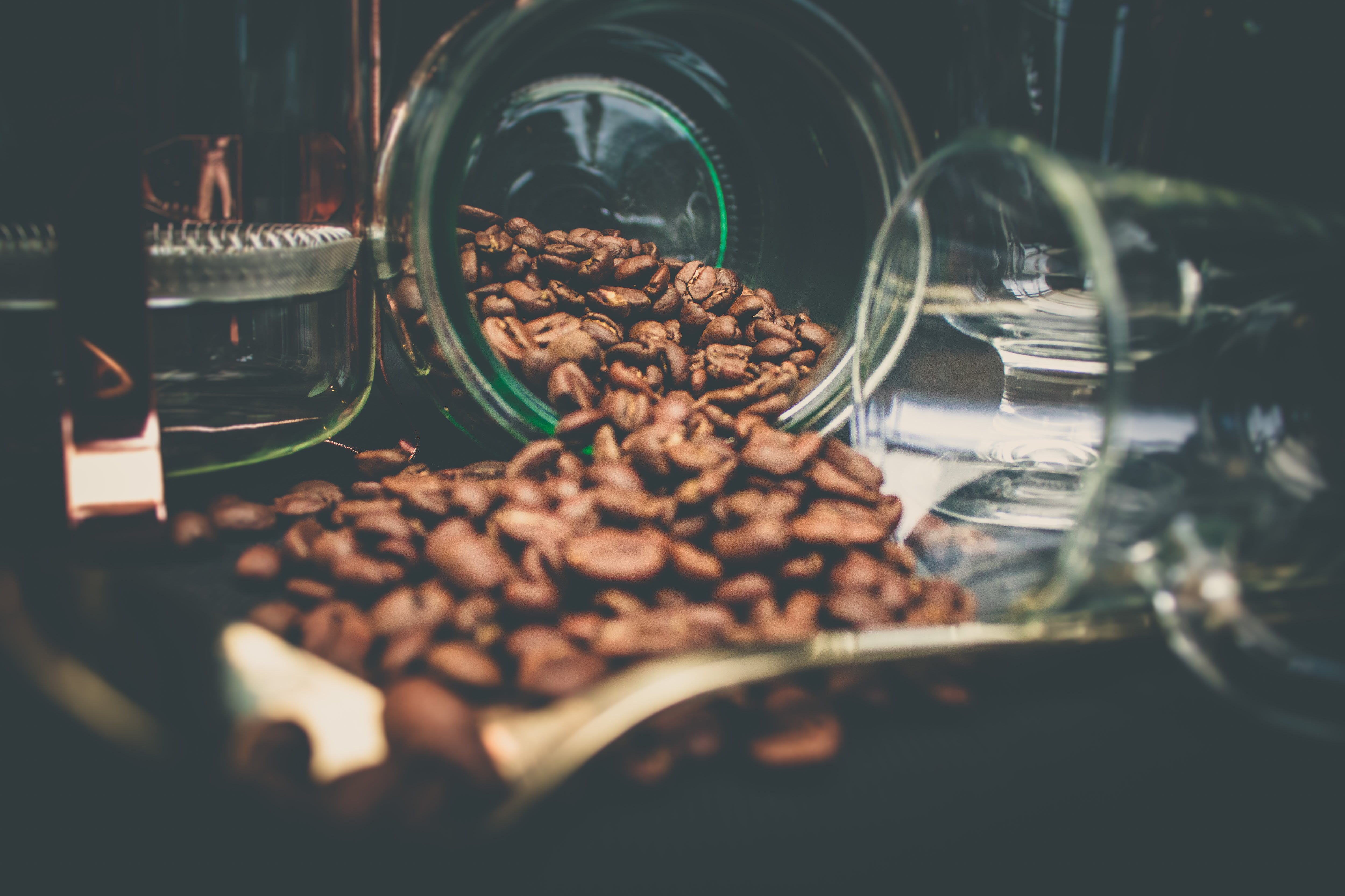 Coffee Beans In Clear Glasses