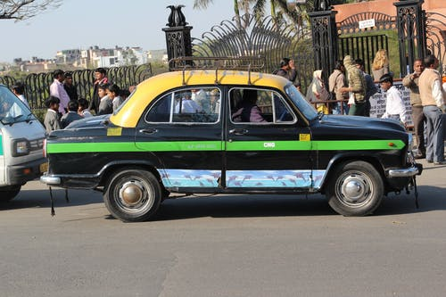 Free stock photo of old taxi in india