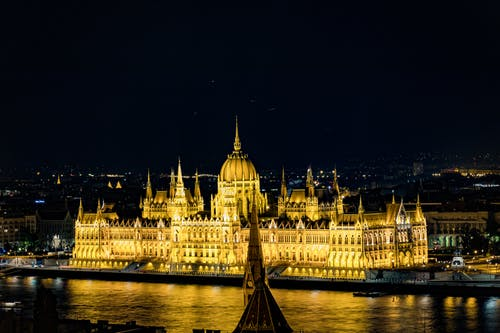 Hungarian Parliament Building with glowing lights on river embankment