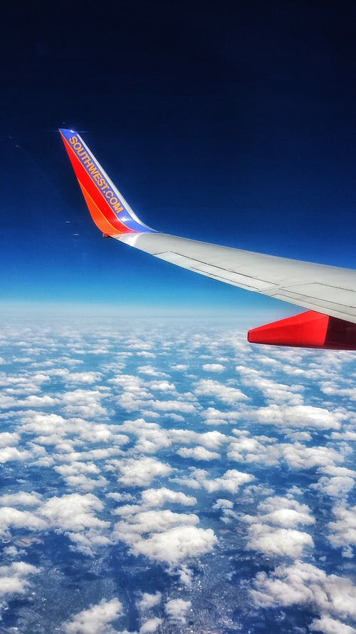 Free stock photo of airplane, blue sky, clouds, flight