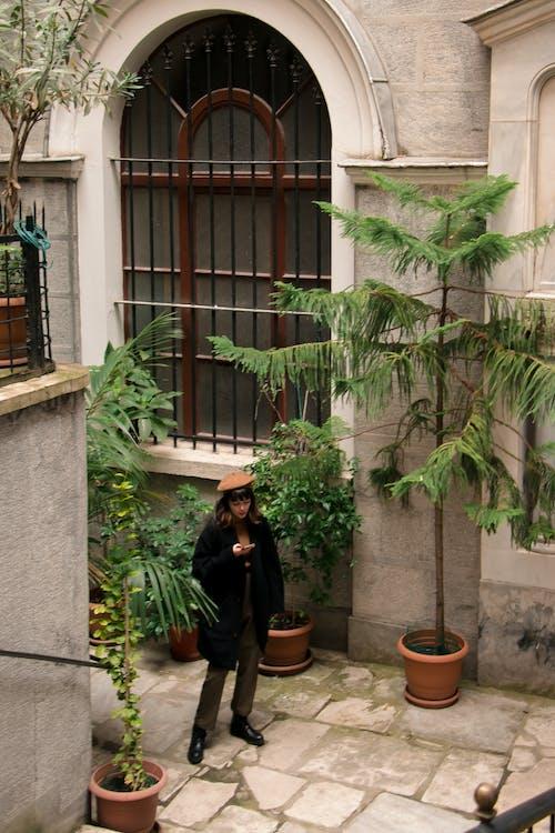 Woman in Black Jacket Standing Beside Green Plant