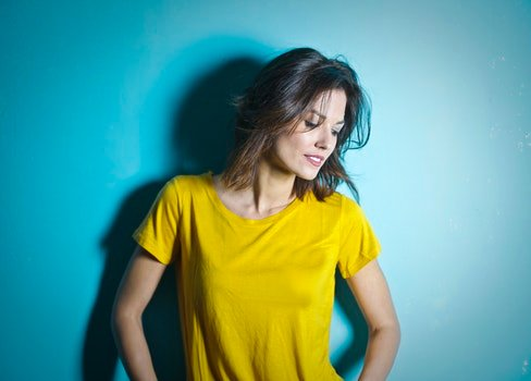 Woman Wearing Yellow Scoop Neck Shirt