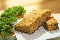 bread, kale, slice