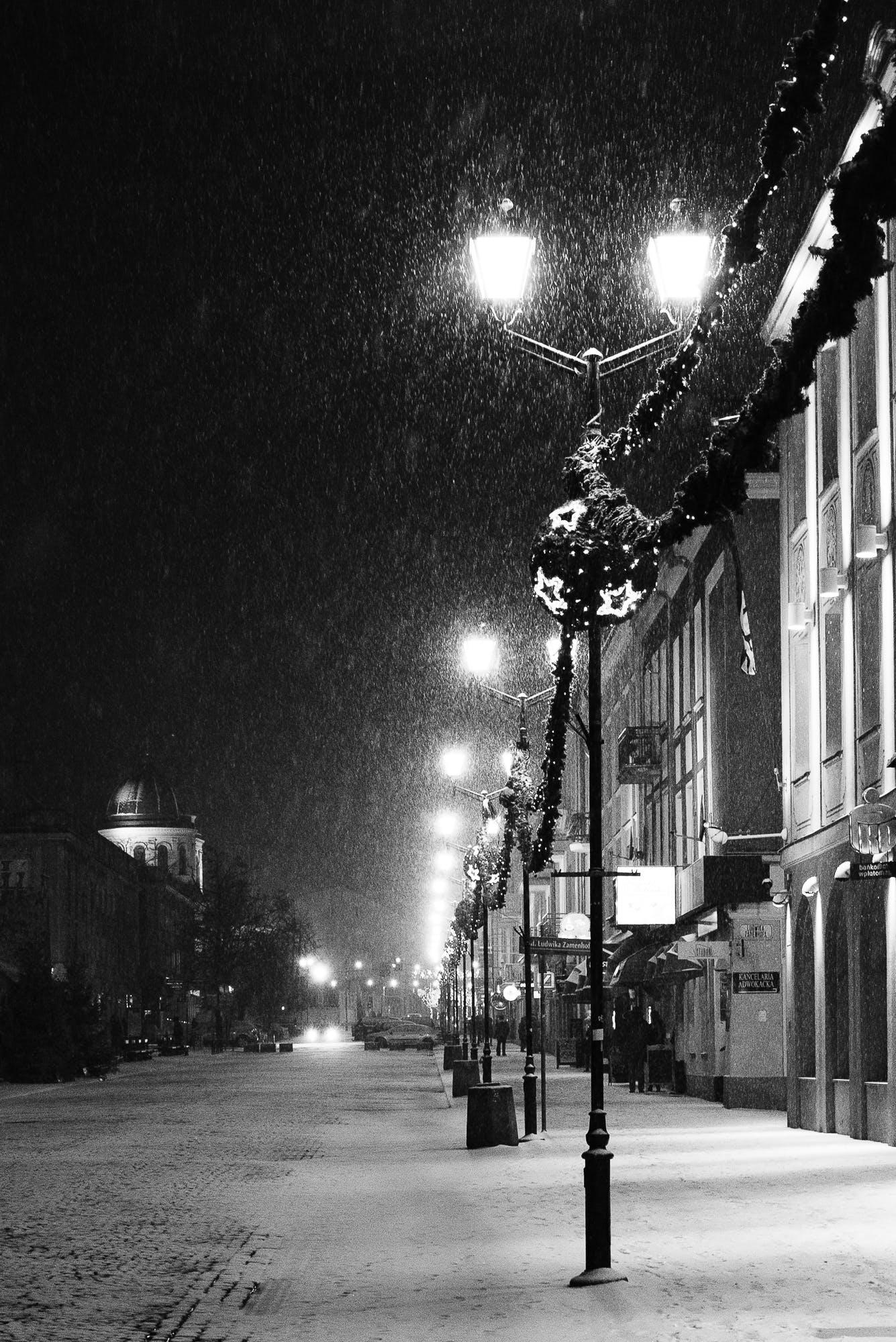 Free stock photo of snow, city, lights