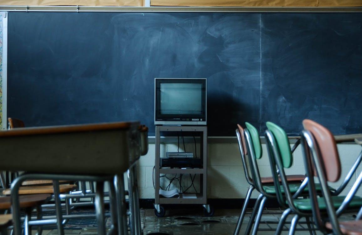 övergiven, skola, stol