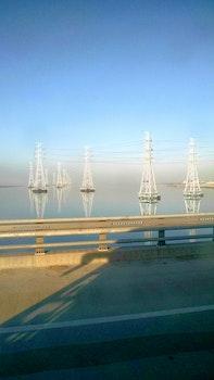 Free stock photo of sky, water, bridge, power