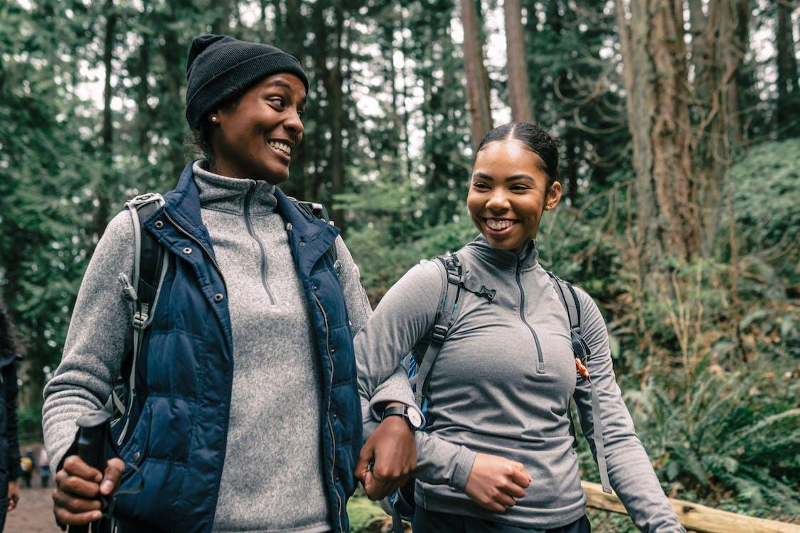 Women Having Fun Hiking in a Forest
