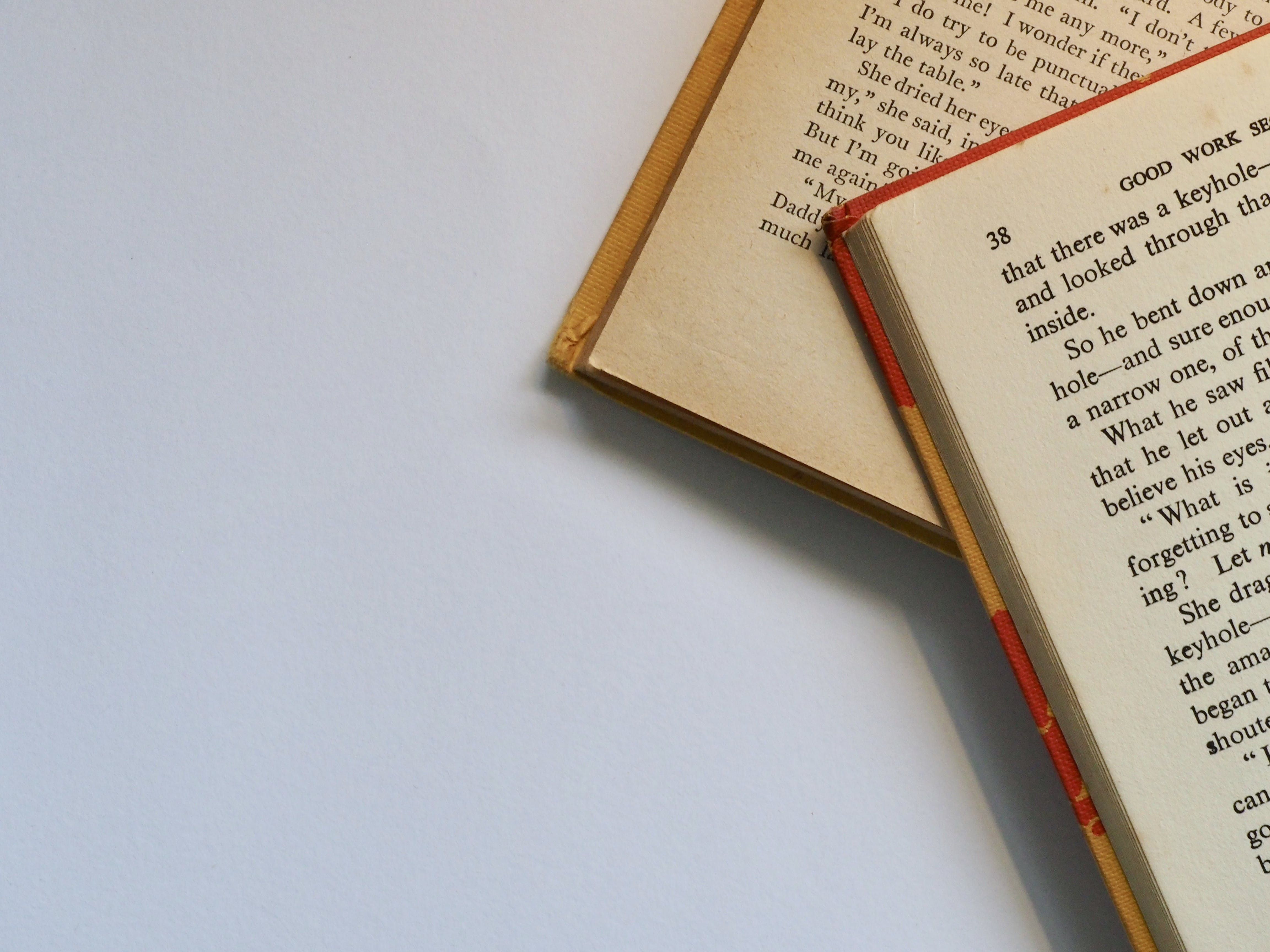 Two Red-and-white Labeled Books