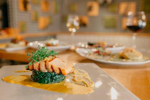 Appetizing salmon steak served on plate