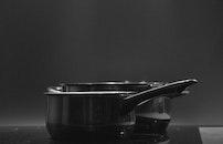 black-and-white, black, stove