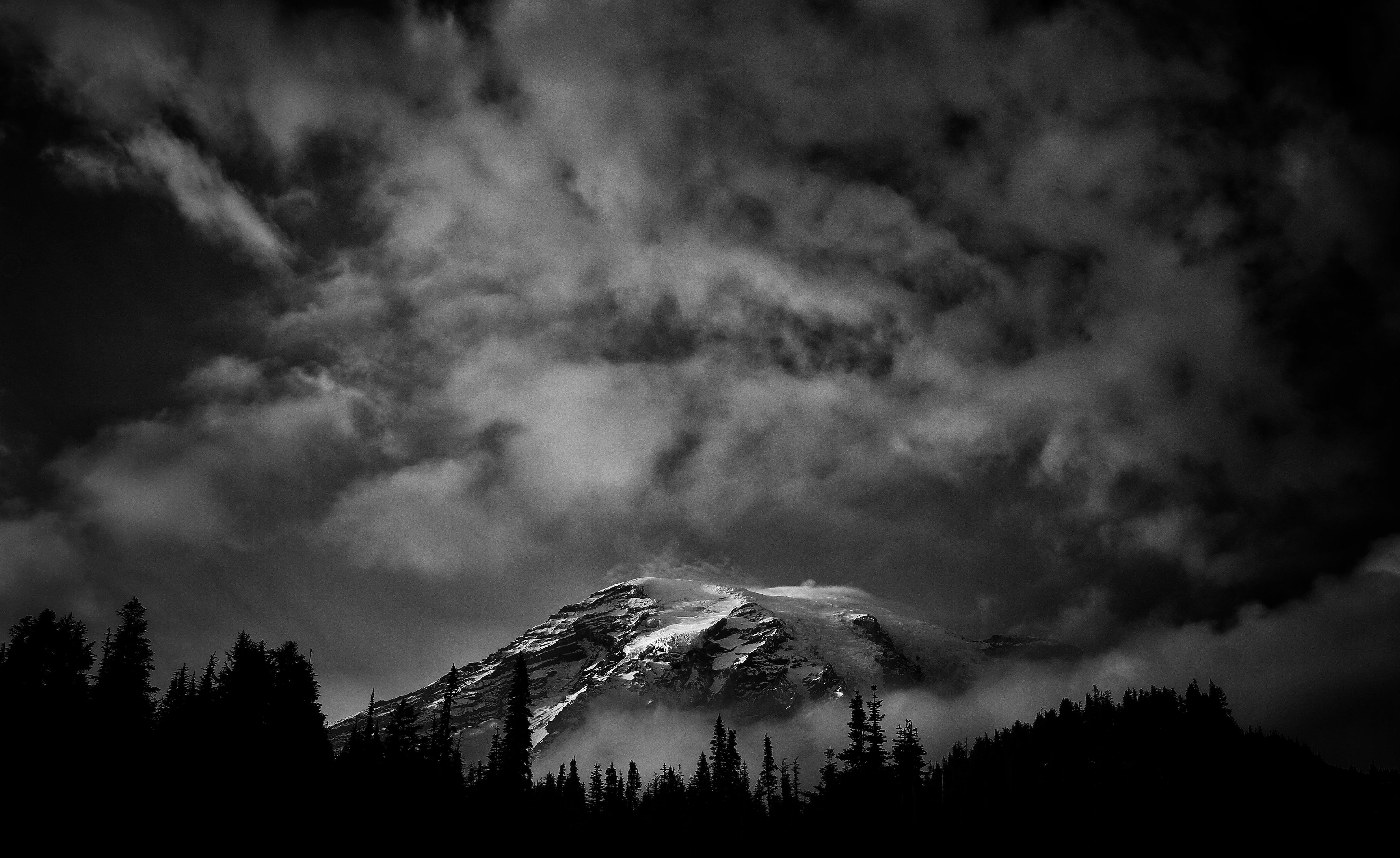black and white, mountain