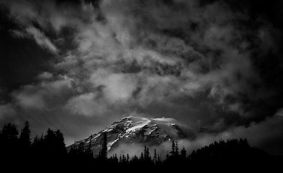 Free stock photo of mountain, black and white