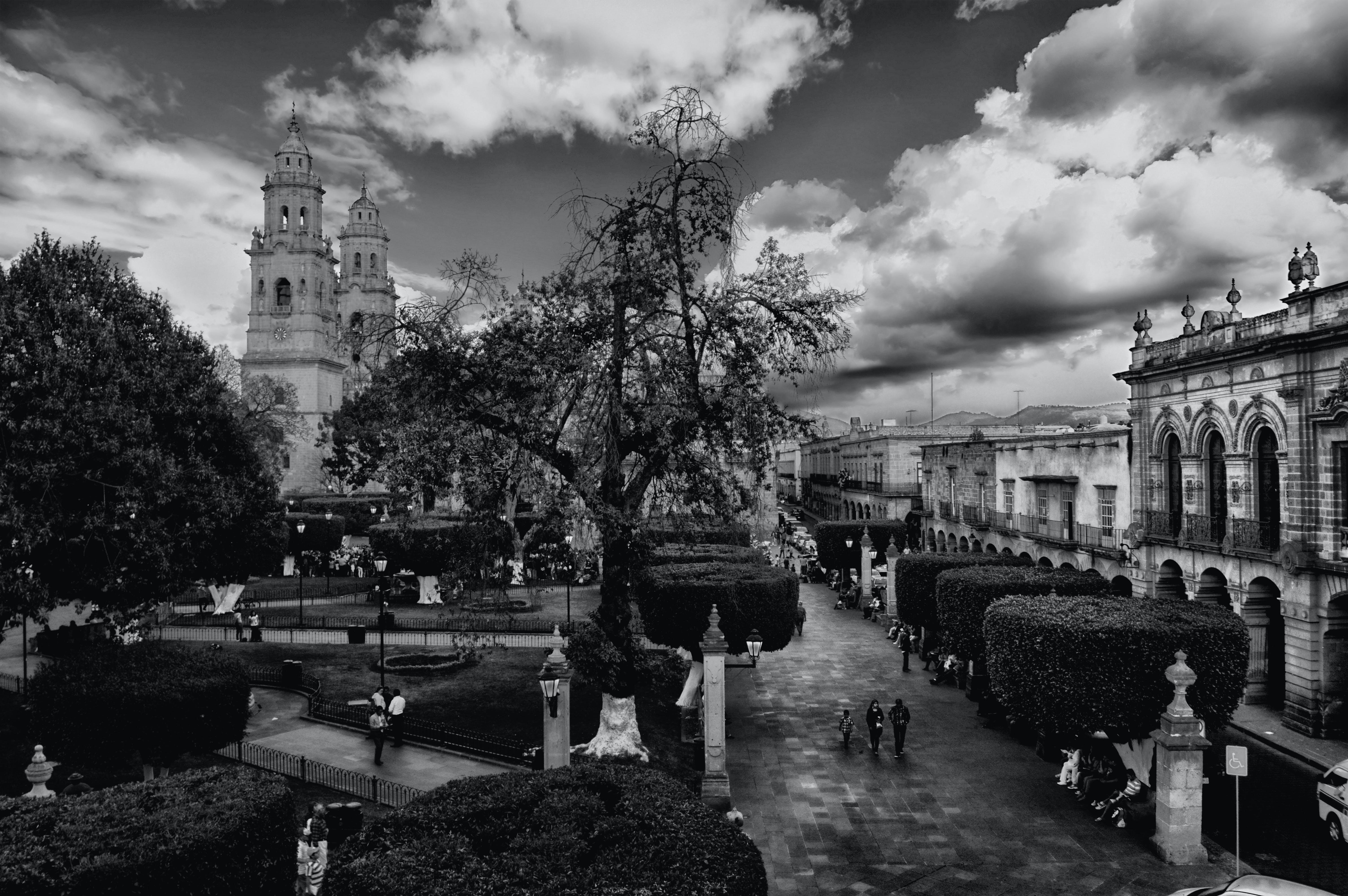 ağaç, binalar, bulutlar, kasaba içeren Ücretsiz stok fotoğraf