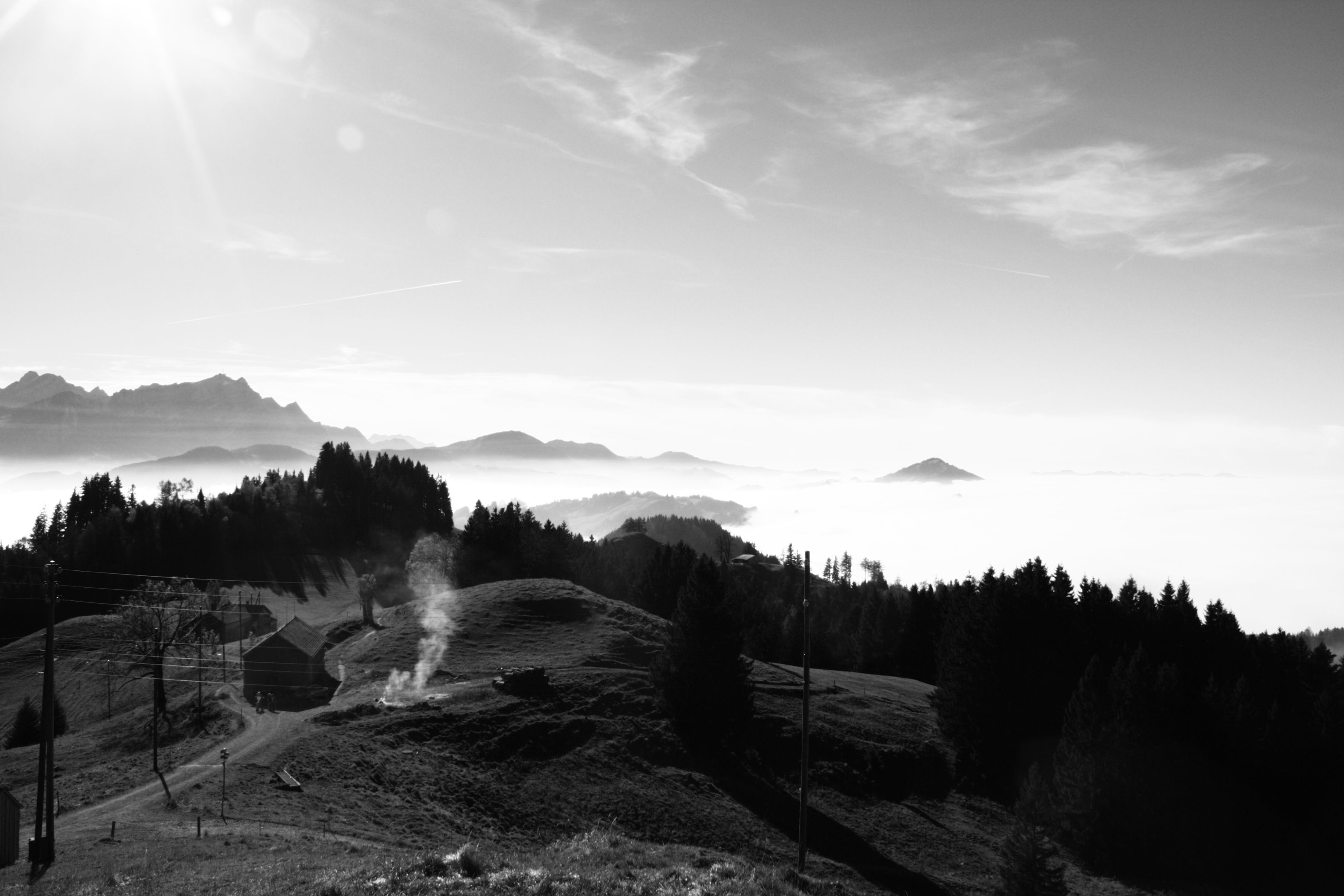 Grayscale Photography of Highlands