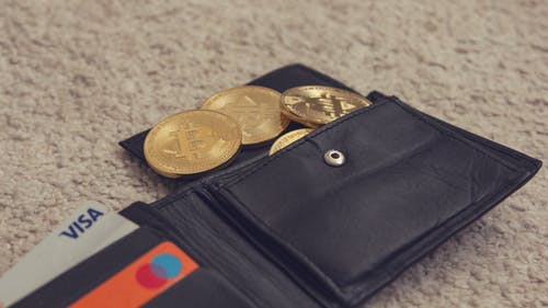 Black Leather Bifold Wallet With Gold Round Coins