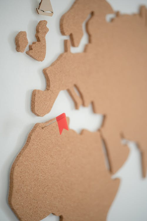 Map on the Wall Made of Corkboard