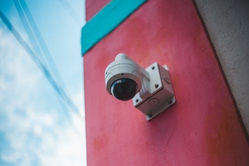 A Close-Up Shot of a Security Camera
