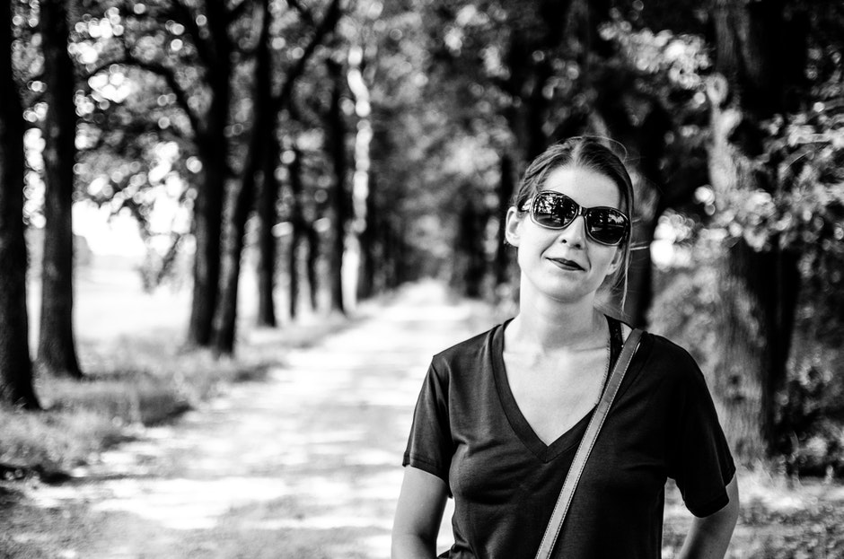 avenue, black-and-white, person