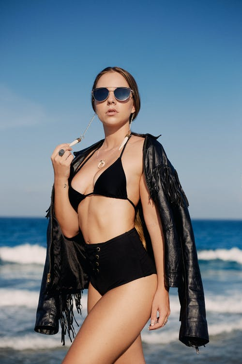 Woman in Black Bikini Wearing Sunglasses