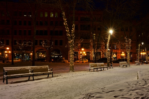 Photo of Snow Covered Benches in the Street