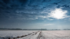 snow, clouds, field