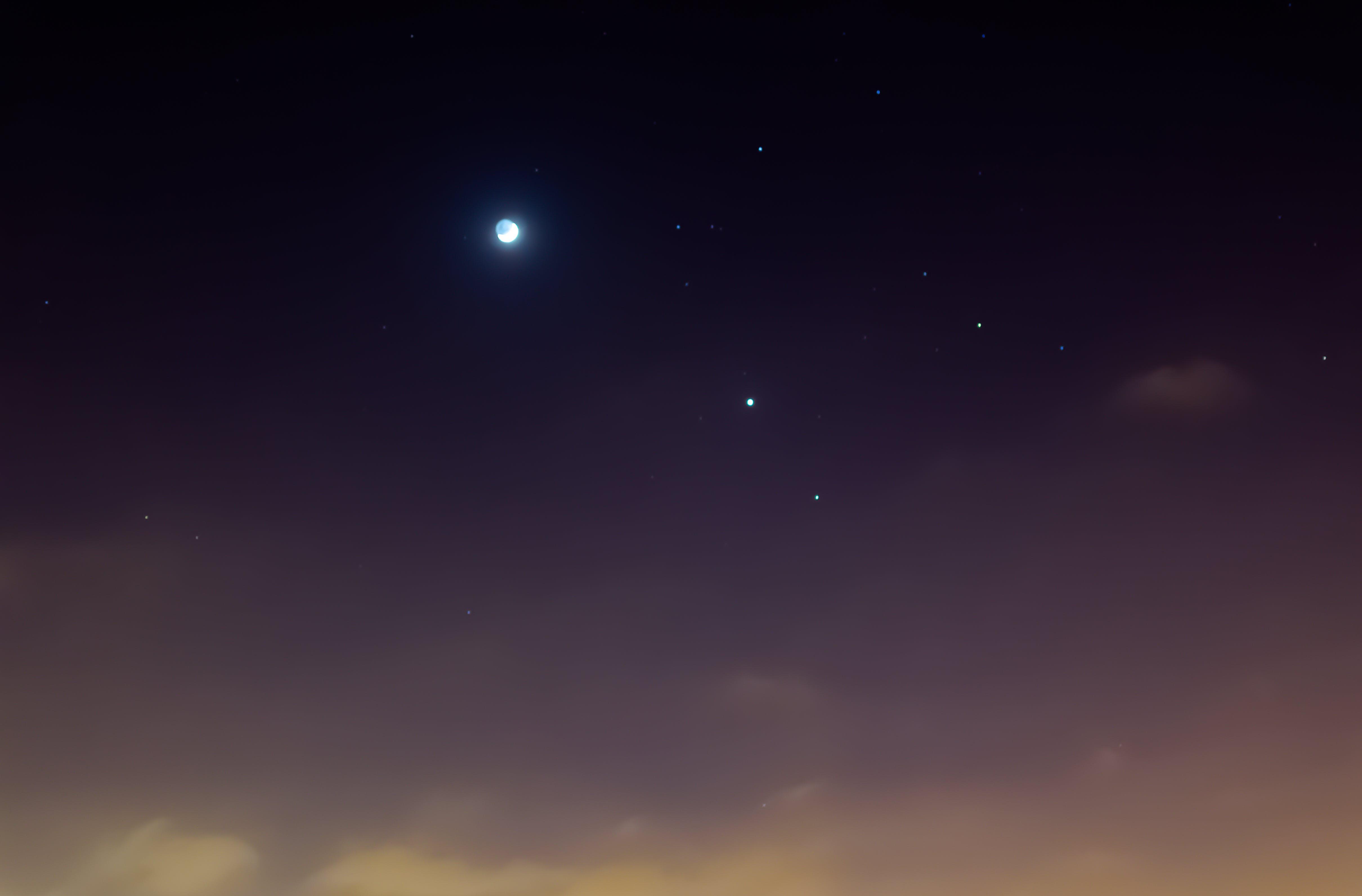 Free stock photo of dawn, moon, night, stars