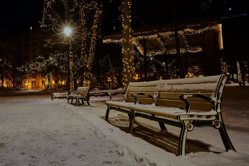 Photo of Snow Covered Benches in the Park