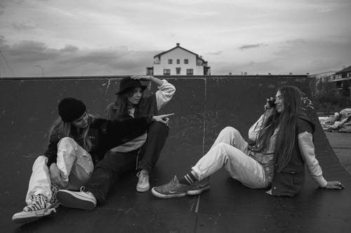 Friends Sitting on Ramp