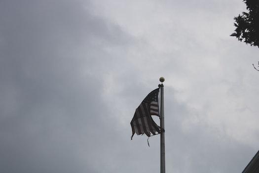 U.s.a. Flag Under Gray and White Sky