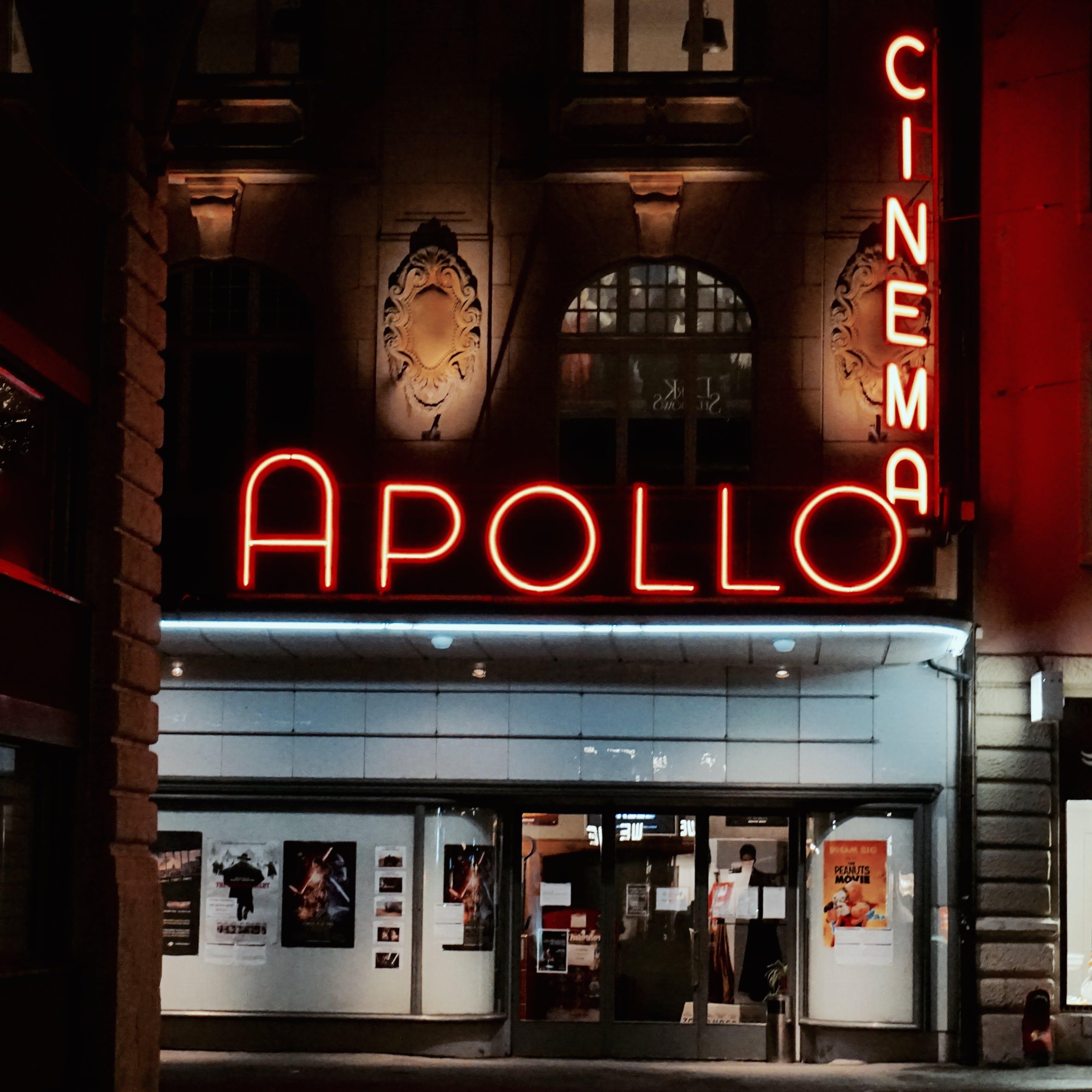 Free stock photo of red, night, cinema, apollo