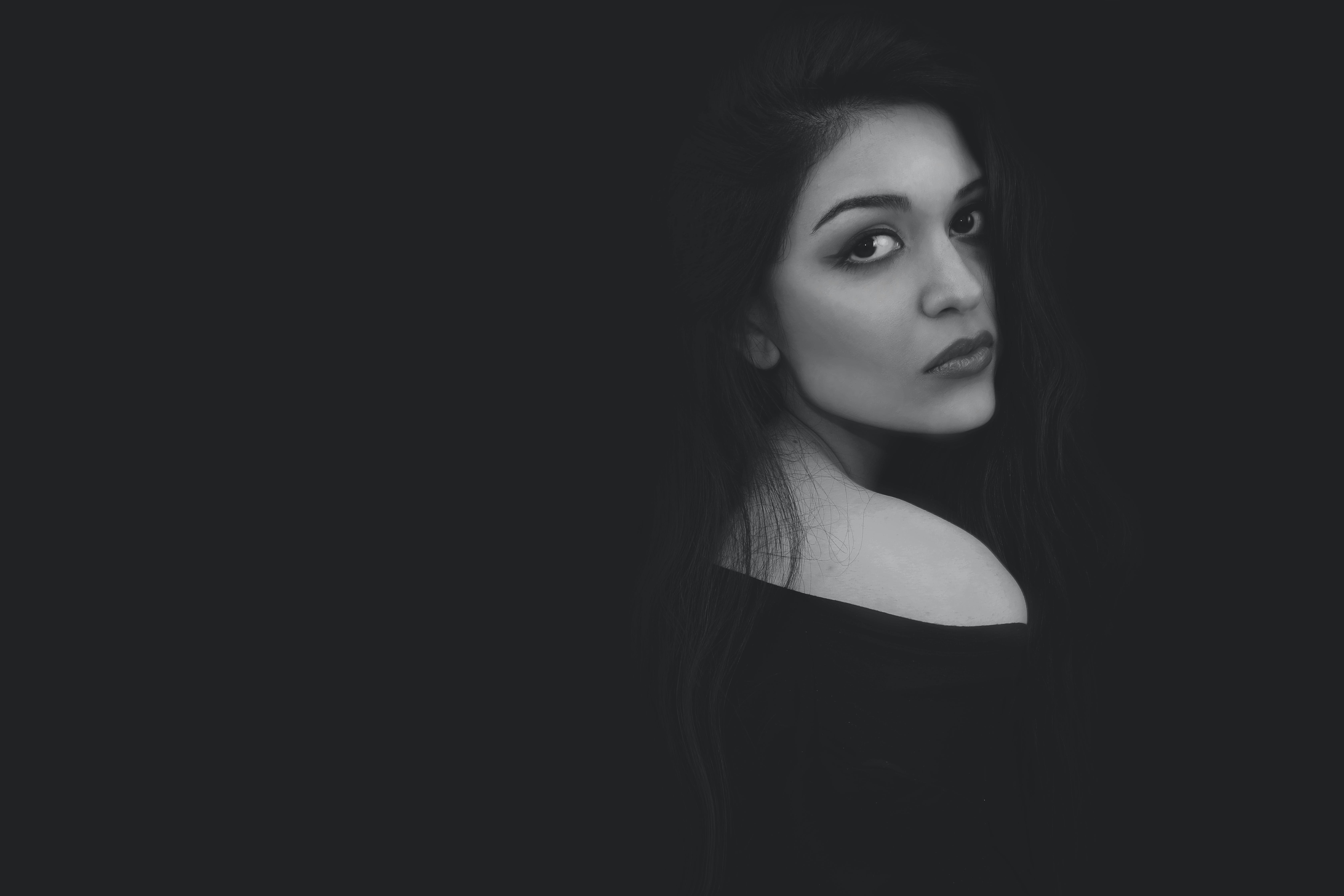 Grayscale Photo of Woman in Black Top