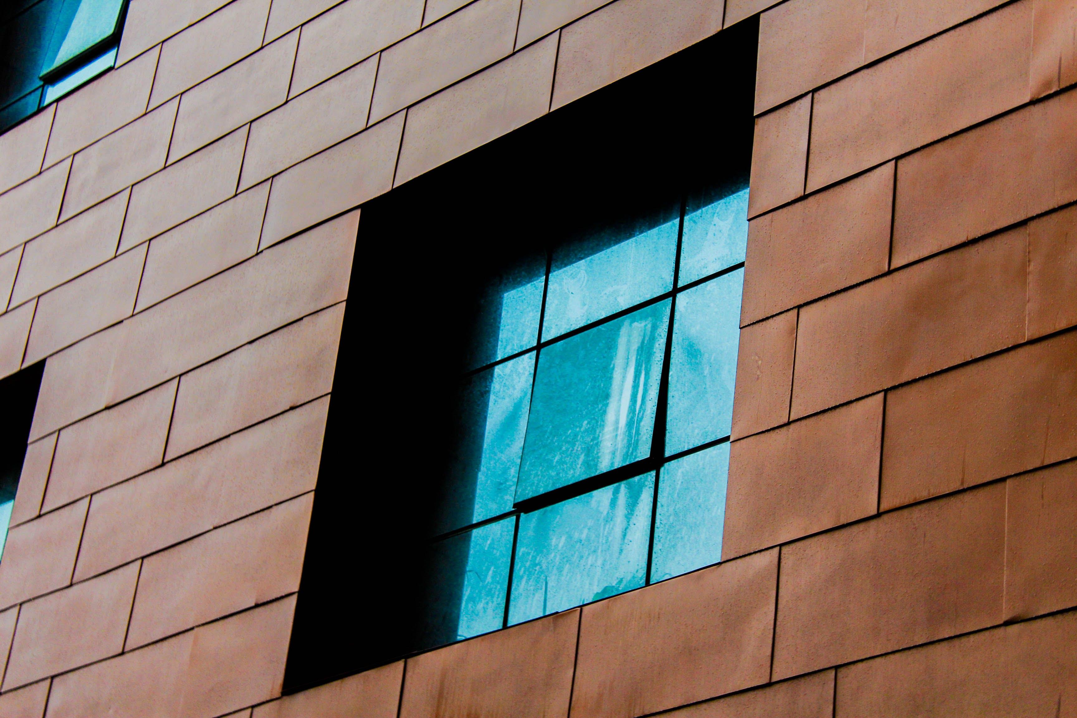 blue window, building, building exterior