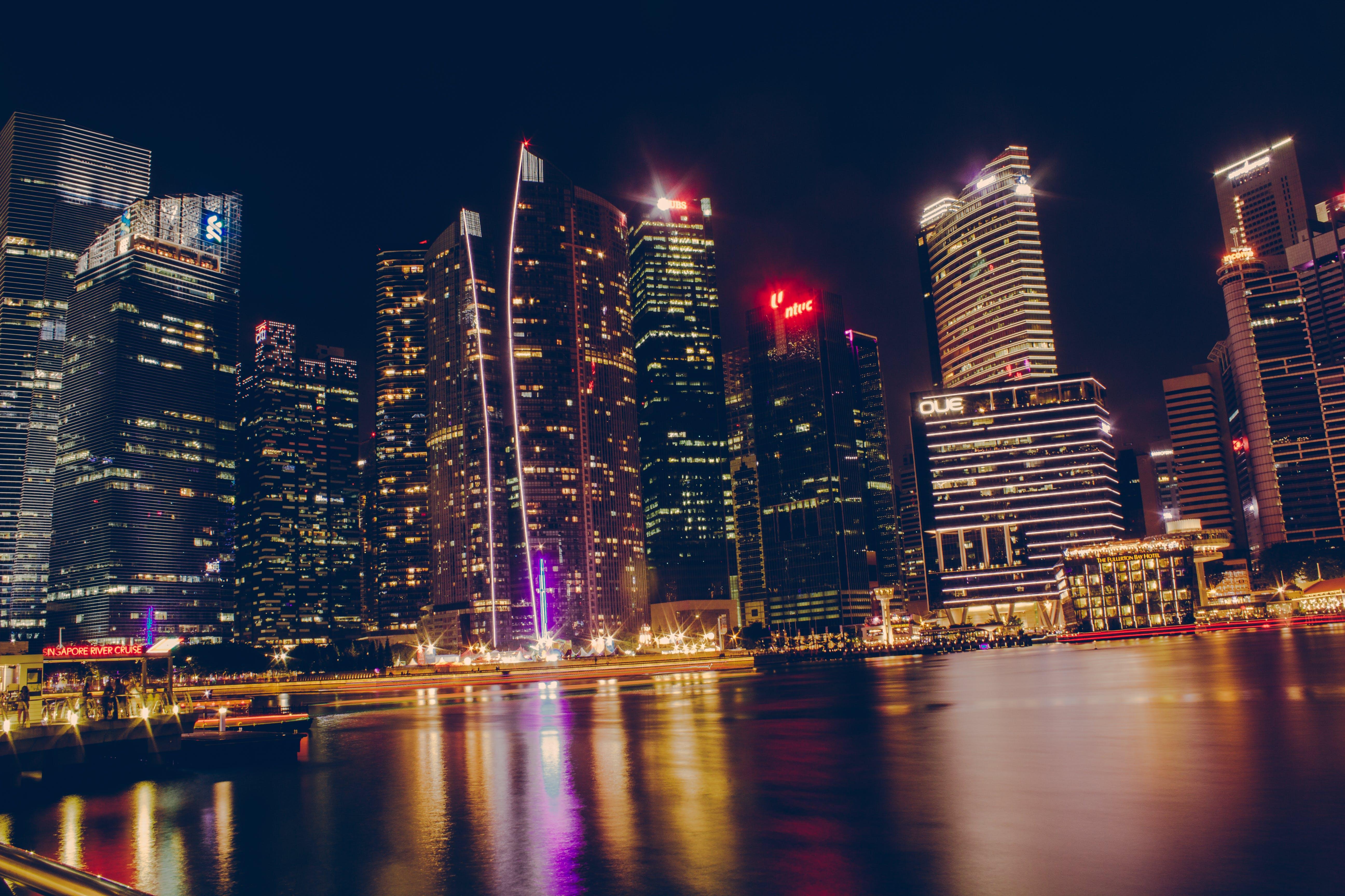 abend, architektur, beleuchtet