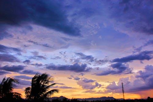 Gratis arkivbilde med dramatisk, fiolett, gyllen sol, himmel