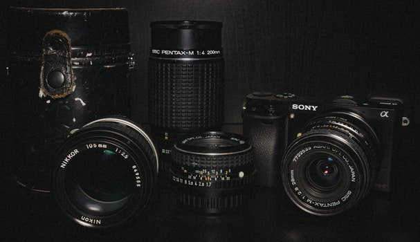 Black Sony Dslr Camera and Lens