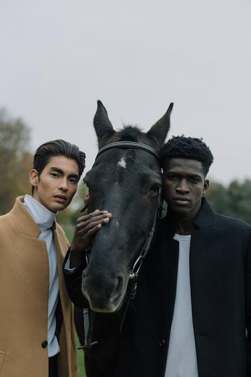 Men Standing Beside a Horse