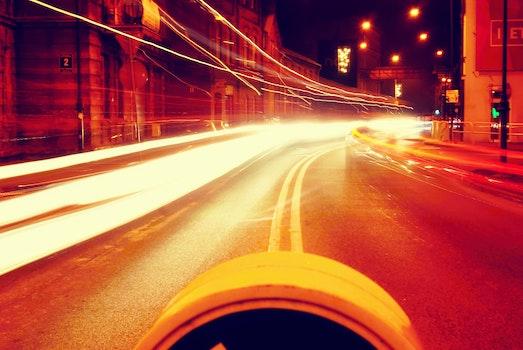 Free stock photo of city, cars, lights, night