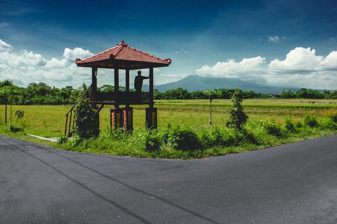 Landscape Photo of Farm With Gazebo on Corner