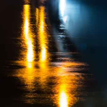 Free stock photo of lights, night, river, long exposure