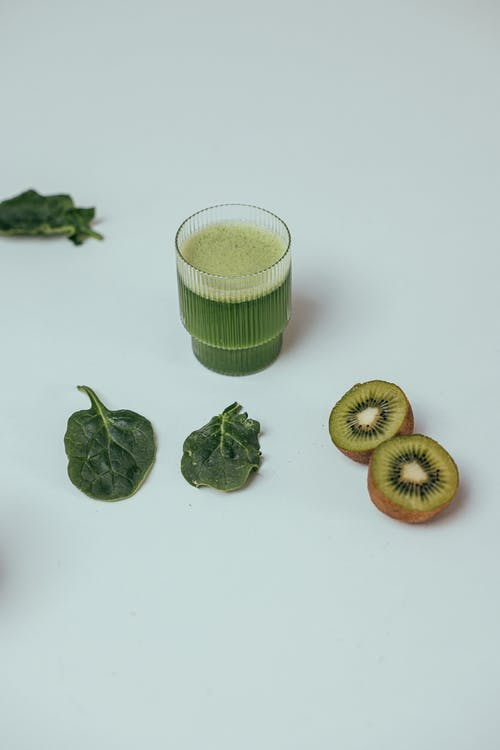 A Glass of Spinach and Kiwi Juice
