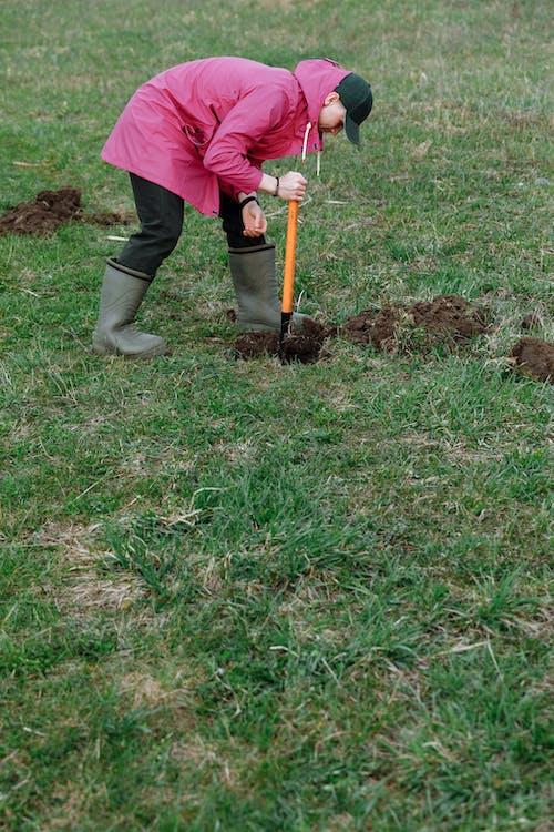 Darmowe zdjęcie z galerii z kopanie, łopata, pole trawy