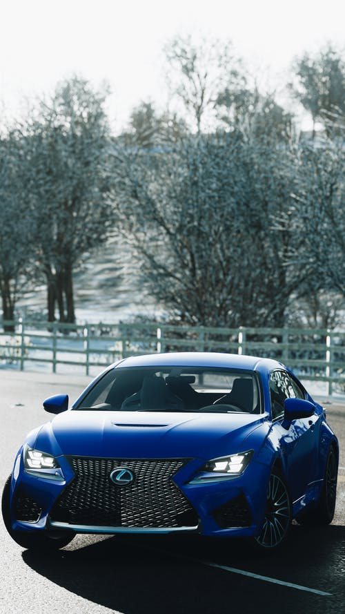 Blue Audi R 8 Parked on Road