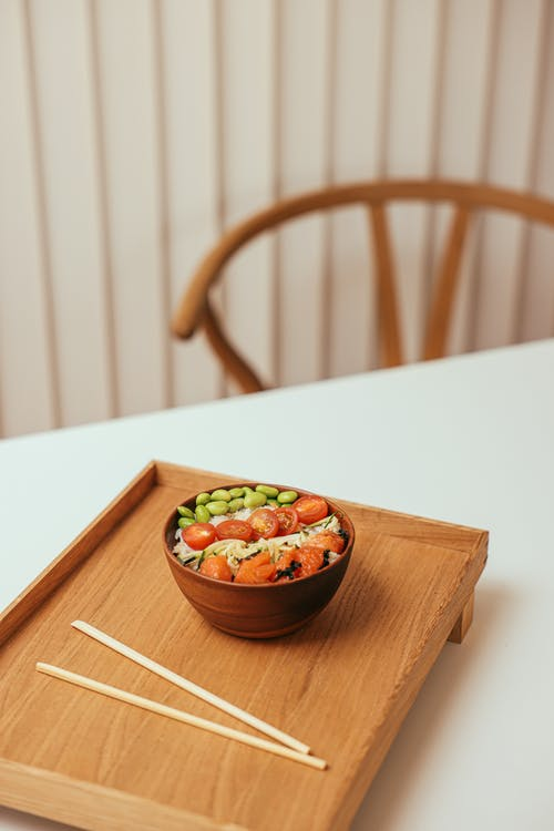 Rice Bowl on a Wooden Tray