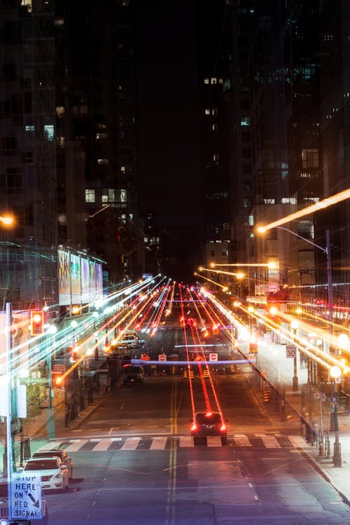 Long Exposure of Cars on Street during Night Time
