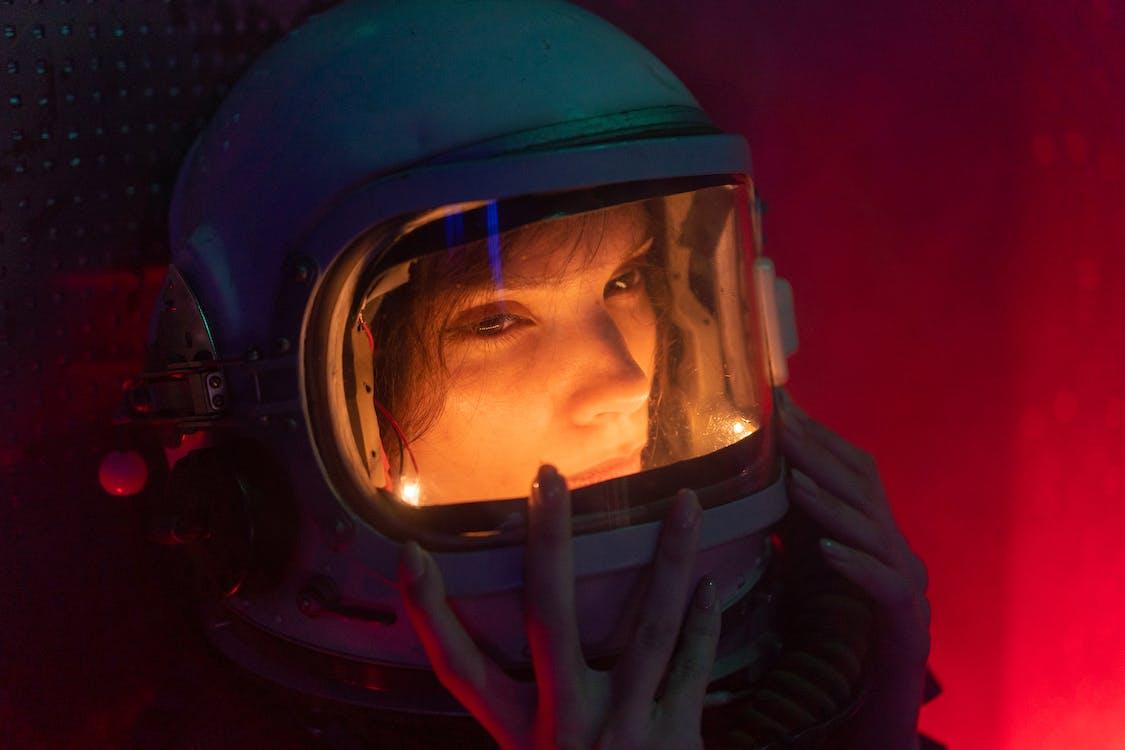 Woman Wearing A Blue Helmet
