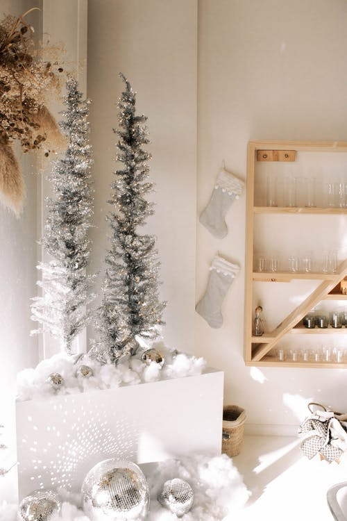 Brown Wooden Shelf With White Snow